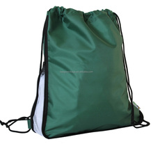 Sport custom made expandable printing nylon warerproof drawstring bags with side mesh pocket