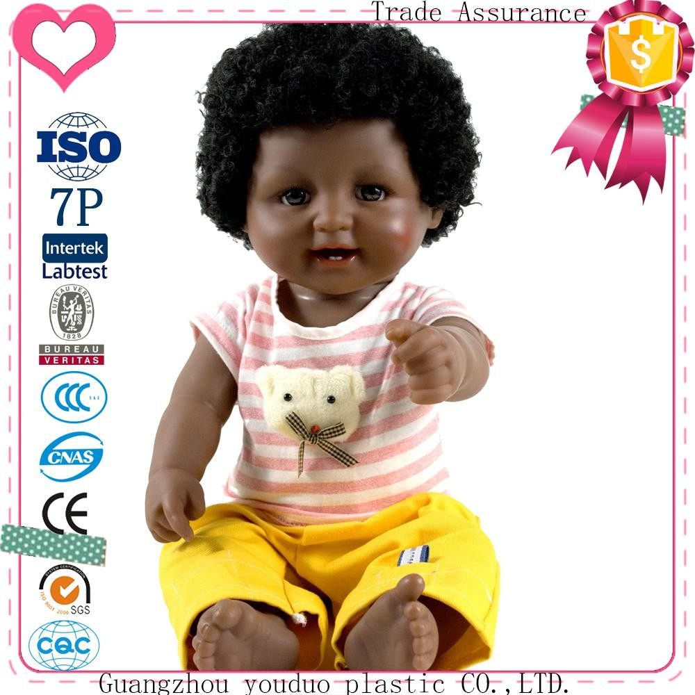 2017 new design doll manufacturers wholesale custom fashion cute 18inch american black baby doll for kids