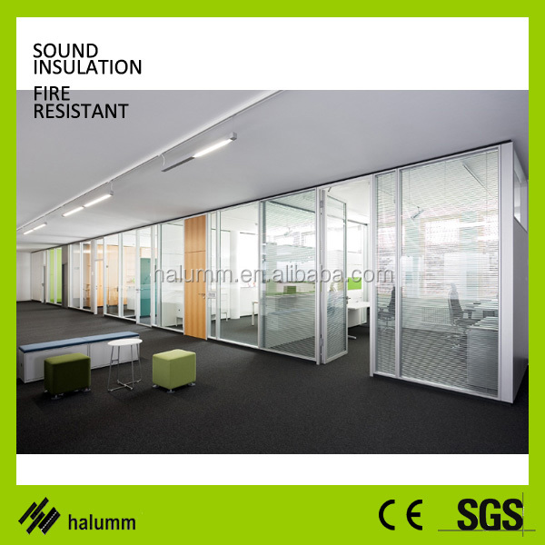 Full height Glass cubicle partition materials used building partition wall wrought iron room divider