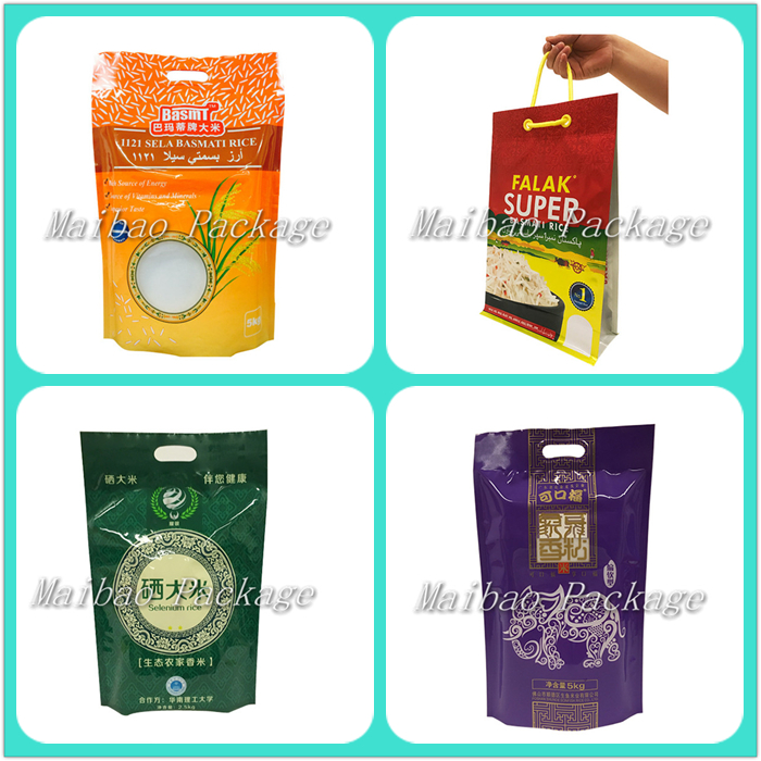 1kg,2kg,5kg,10kg Vacuum Bag for Rice Packaging/Thailand Basmati Plastic Rice Bags with Handle