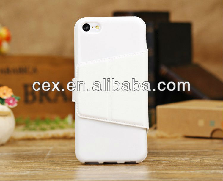 New Arrival White Folio Magnetic Crazy Horse PU Leather Stand Case for iPhone 5C