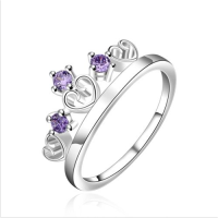 925 Sterling silver plated crown amethyst sapphire jewelry ring
