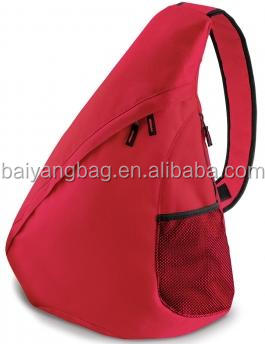 Distinctive shaped zipper triangle slingpack bag with an extra wide single strap for comfort