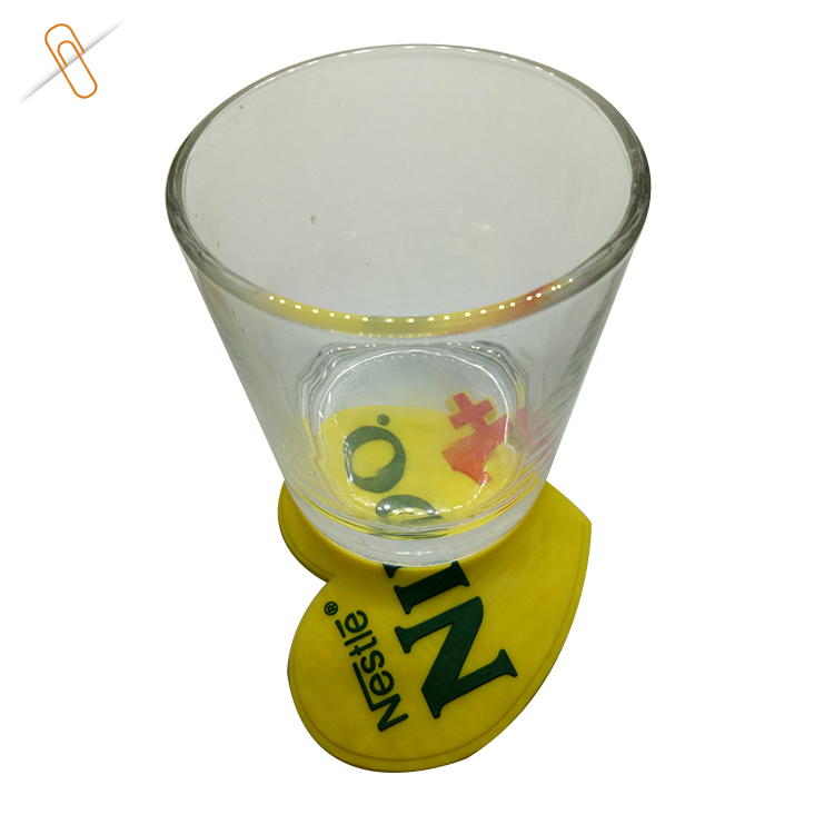 yellow color heart shape tea cup recycled rubber soft PVC coaster