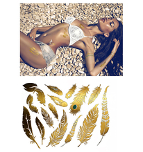 Custom vibrant shimmer tribal metallic gold temporary hand body sticker tattoo