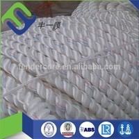 Qingdao supply twisted white polyester rope for tug boat