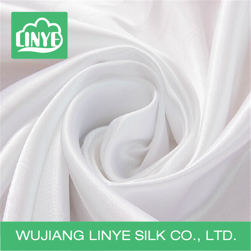 100% polyester white bright stretch satin silk fabric for wedding decoration dress bridal gown