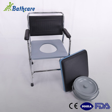 Hospital Durable Stainless Steel Toilet Commode Chair Soft Seat With Bedpan