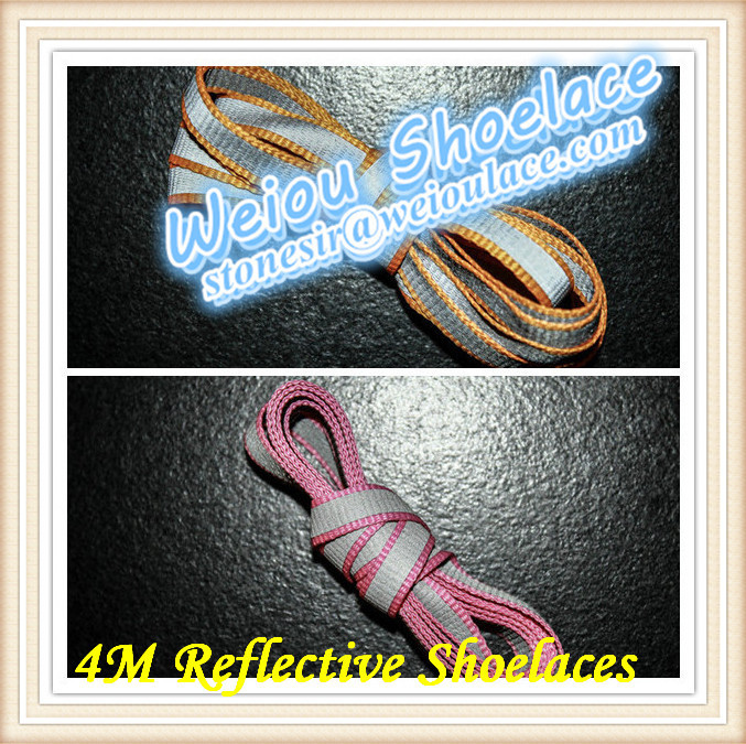 Weiou Highly reflective and cheap shoelaces wholesale with 4M reflective tape for KITH