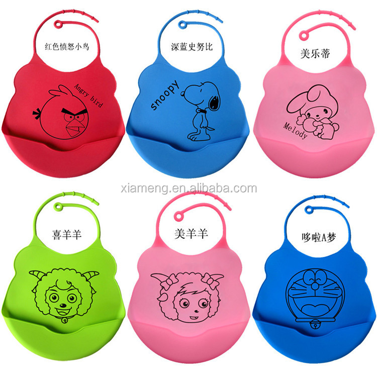 OEM Service printed silicone baby bib with food pocket
