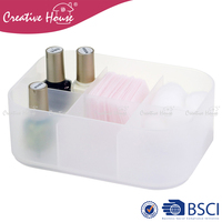 Small size custom color stackable plastic pp storage organizer box container without lid with 6 compartments