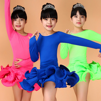 Children Girls Latin Dance Competition Dress Kids Dancing Costumes For Latino Rumba Samba Jive Quick Step Dancingwear ZH5029