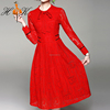 HTK Newest Spring Tie Neck Casual Long Sleeve Lace Red Dress