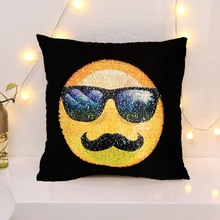 Decorative Fun Mermaid Reversible Style Emoji Sequins Pillow Case Square Cushion Cover