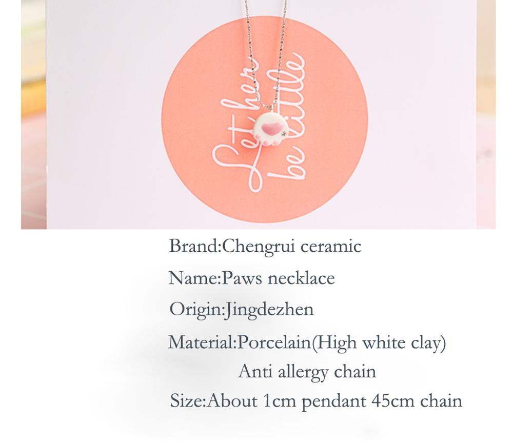 necklace ceramic cat germanium necklace logo pendant for dress accessories paws print hand-made pendant