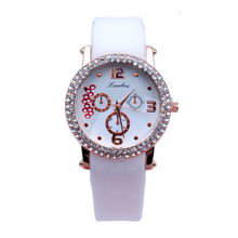 2016 Alibaba Top Selling Silicone Geneva Watches Diamond Laides Womens Quartz Wrist watch