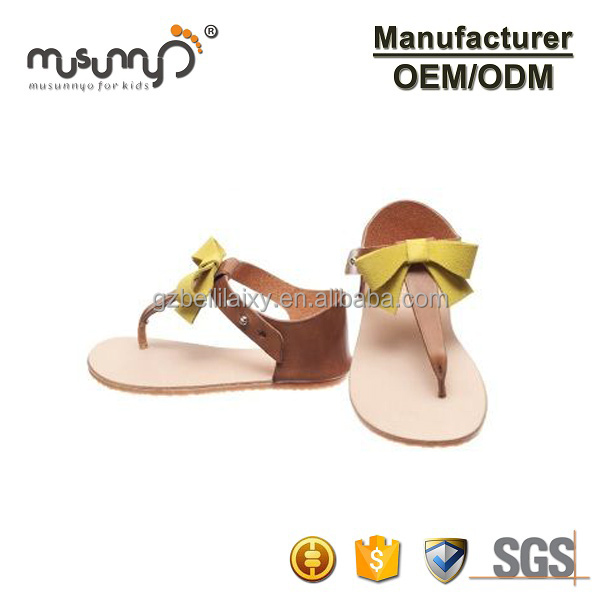 Simple Children Shoes Little Kids Girls Summer Shoes Yellow Leather Bow Sandals