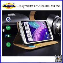 Luxury Genuine Real Leather Flip Case Wallet Cover & Screen Guard For HTC ONE M8 Mini