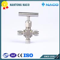 High Pressure Control Hydraulic SS316 SS304 3 Way Needle Valve Manifold