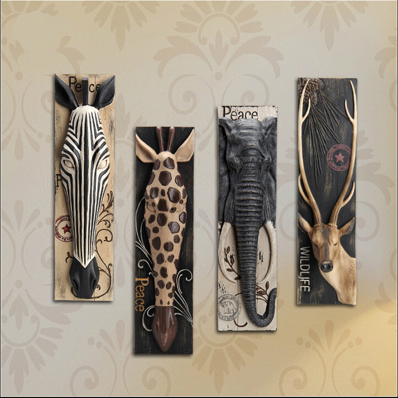 Home decoration modern Resin horse elephant deer head <strong>Wall</strong> Hanging crafts 158150