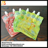Fruit liquid resealable food grade plastic bags stand up pouch with spout