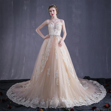The newest design champagne chapel train wedding dress, crytal yarn lace bridal gown