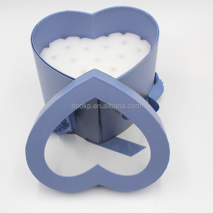 Shinelee 2 tier pretty valentine heart shaped rose flower gift box MOQ 1000