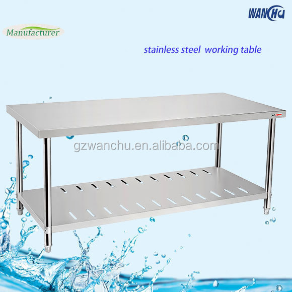 Stainless Steel Working Table Double Layers Stainless Steel Table/ Work Table With Wheels