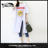 summer printed short sleeve round neck loose long shirt t shirt for women