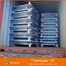 Industry Collapsible Wire Mesh Storage cages Metal Pallet Steel Warehouse Container for bulk cargos