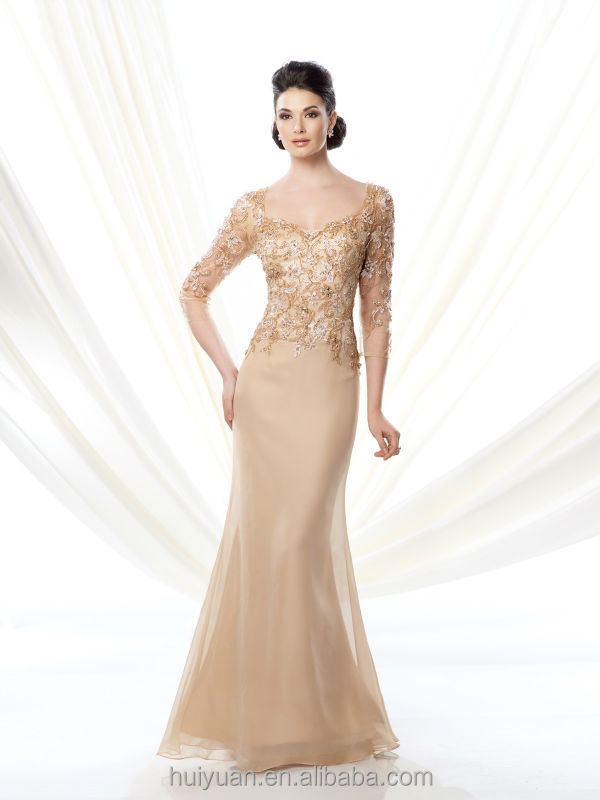 gold long sleeve lace satin mother women s evening gowns