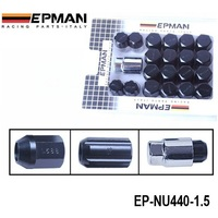 AUTOFAB - EPMAN RACING Forged Aluminum Lock LUG NUTS M12X1.5 (Work Wheels Close Closed End Ended) Black 20PCS/Set EP-NU440-1.5