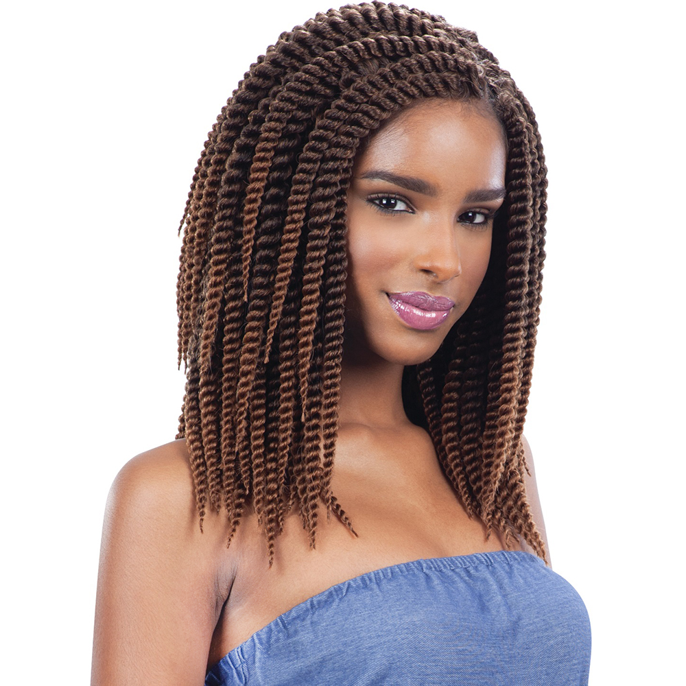 "High Quality 12"" 24'' 2X Havana Mambo Twist Braids With Synthetic Crochet Hair Extension"