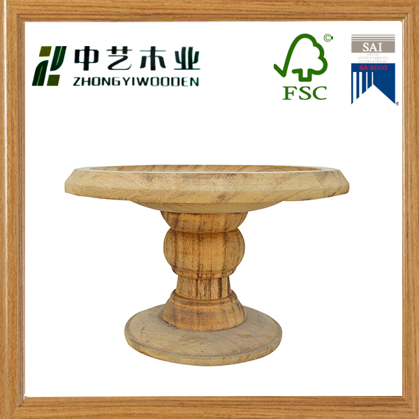 Unfinished handmade pine round wooden candle holder wood candlestick tray