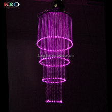 wedding decoration 8 colors changing modern fiber optic crystal round chandelier with fiber optics