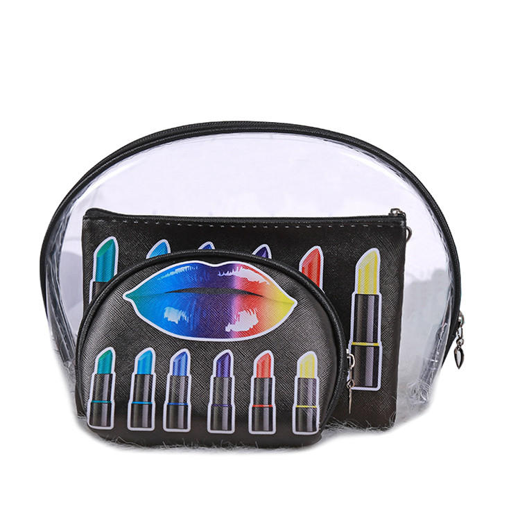 3pcs Set Transparent Custom Makeup Bags Lipstick Printed PVC Zipper Cosmetic Bag Wholesale