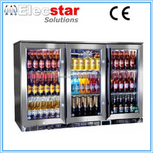 3 doors Back Bar Cooler, Underbar Stainless steel swing door fridge