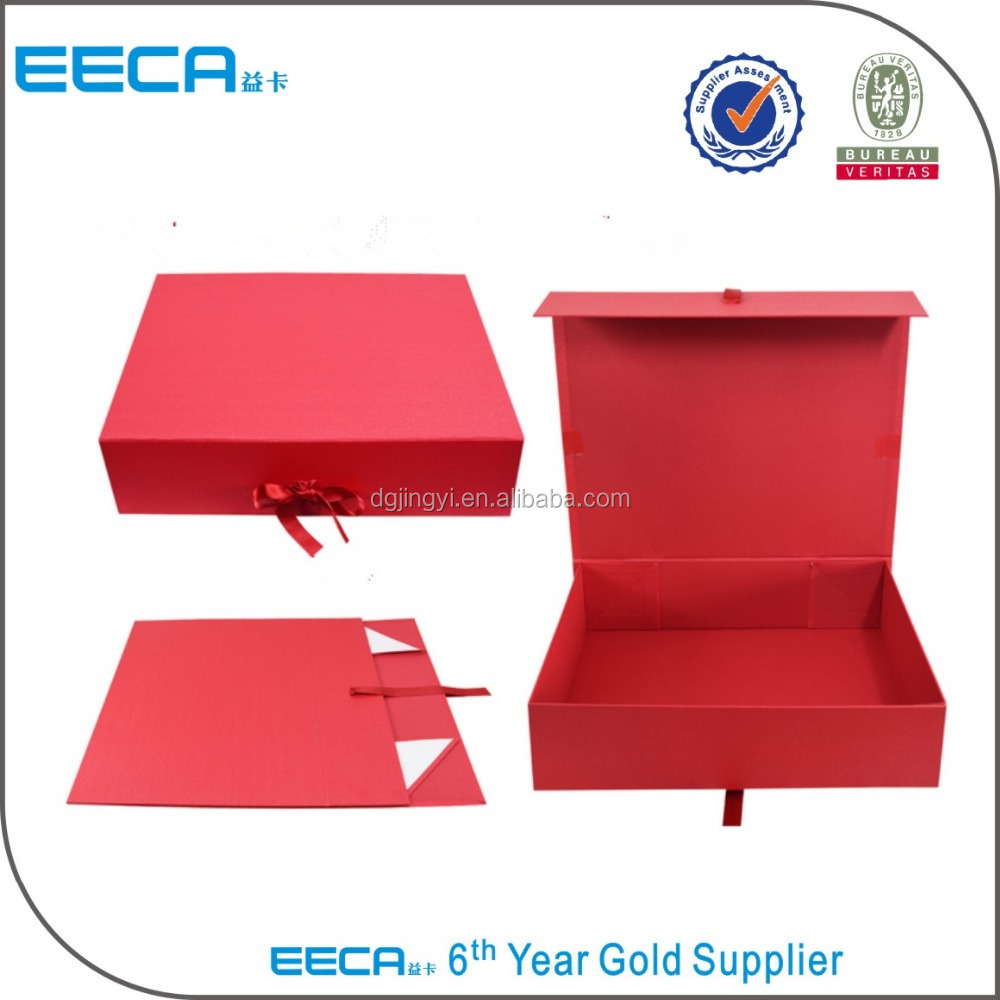 Luxury Water Proof Box with Ribbon /Magnetic Folding Cardboard Box