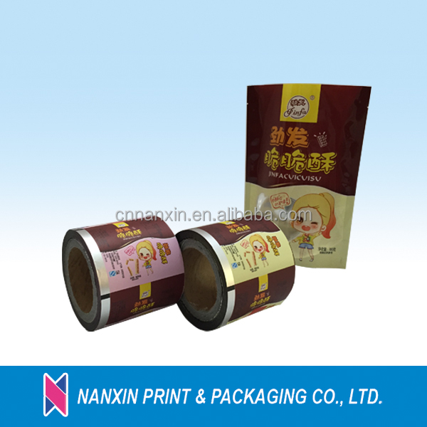 wholesale packaging laminated food grade plastic film for snack pouch