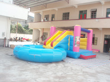 New Design Inflatable Water Slide and Pool with Cannon-PF-IE507 Water Slide Park