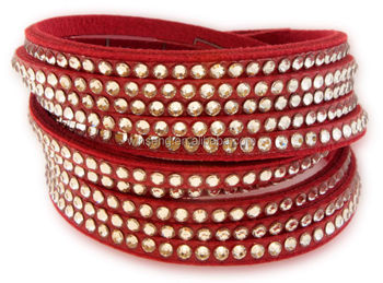 Wholesale 925 Fashionable Jewelry Gallant Red Leather Bracelet with Crystals from SWAROVSKI