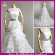 SW752 low open back layered handmade ruffled organza japanese wedding dress