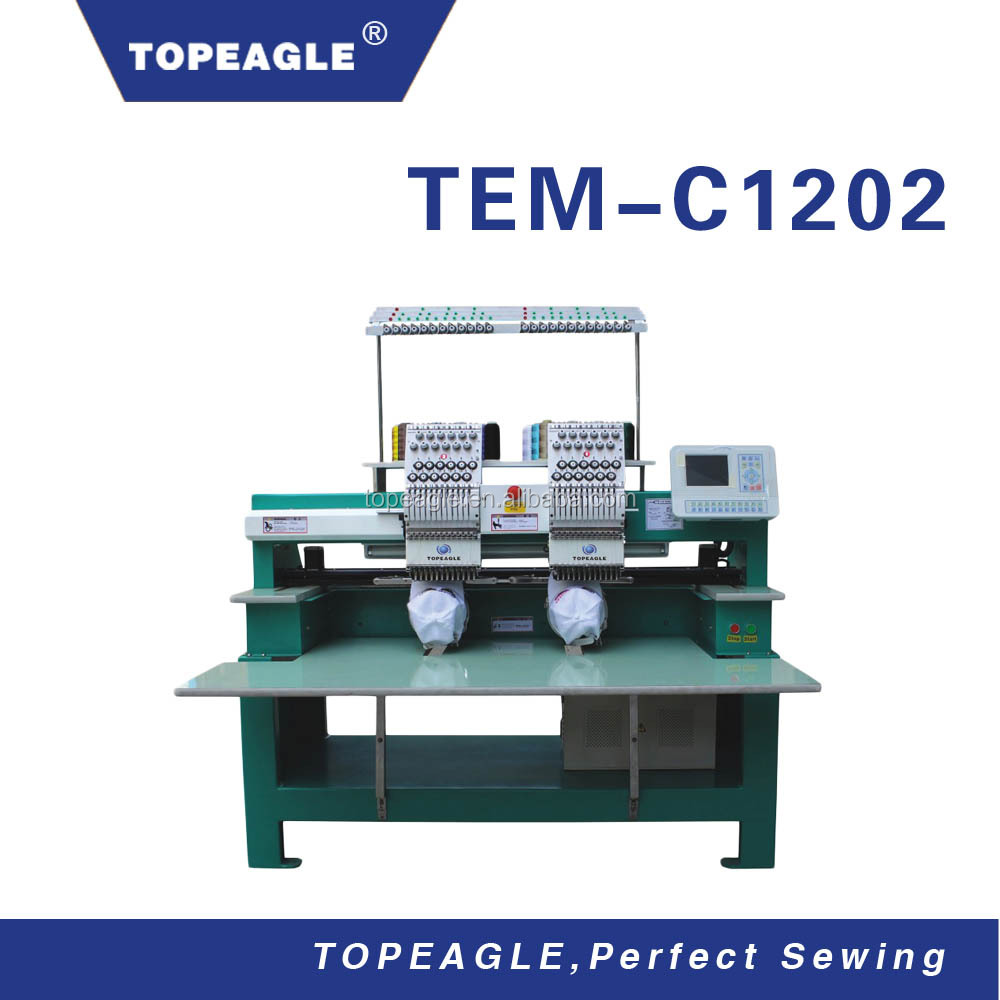 TOPEAGLE TEM-C1202 Computerized 2 Head Cap Embroidery Machine for Sale