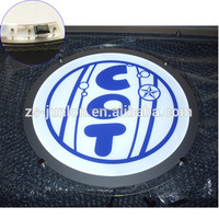 Round shape acrylic crystal frame slim led sign for car brands logo names
