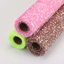 2015 Wedding Decoration Roll Pink Mesh Flocking With Dot