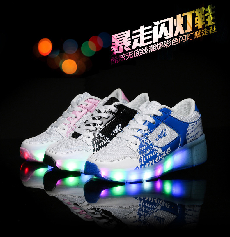 2017 HOT Kid Adult LED Light Up Wheel Shoes Retractable Roller Skate Sneakers Shoes