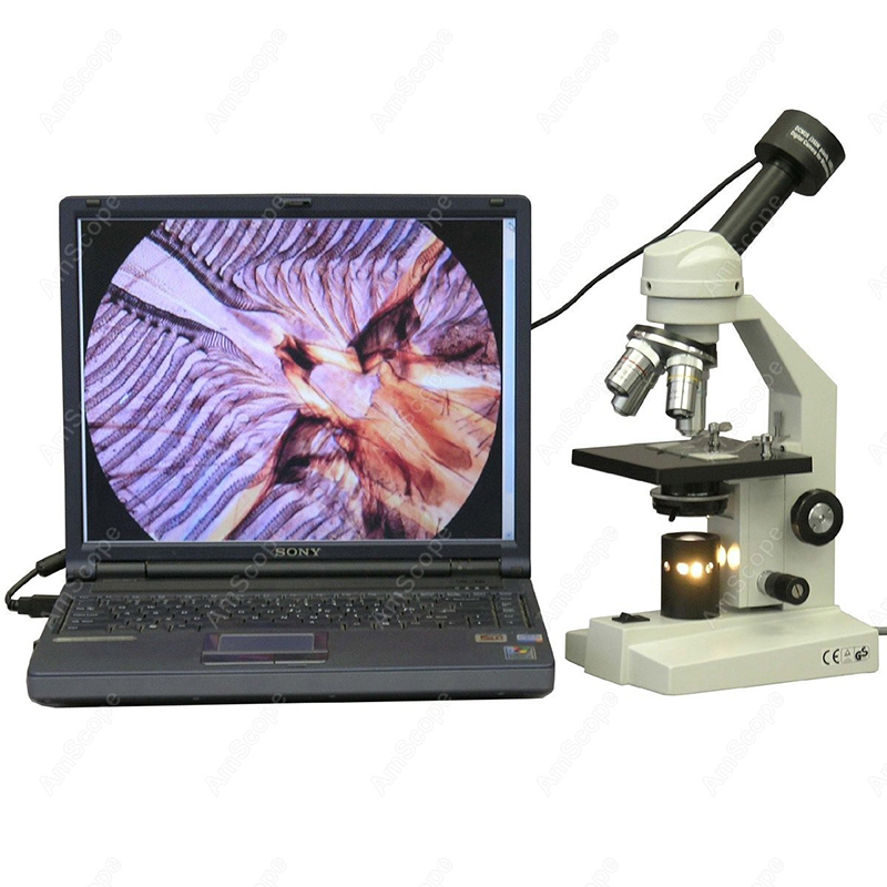 AmScope Supplies 40X-1000X Student Monocular Compound Microscope + USB Camera