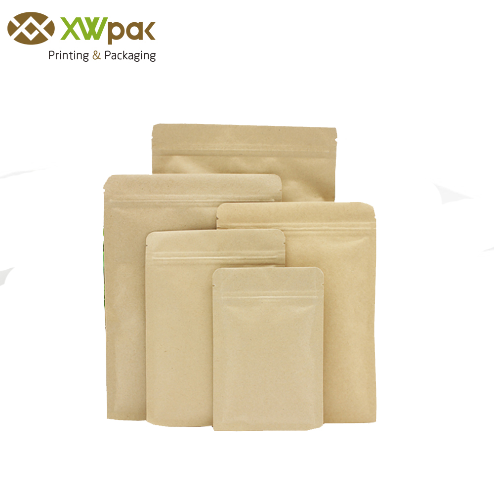 Low MOQ 250g 500g 1000g disposable kraft paper bags lined aluminum foil pouches for seed food coffee tea packing