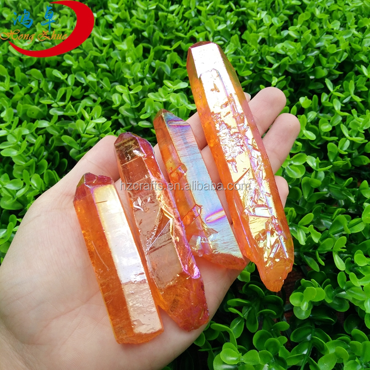 Rough aura plain citrine quartz crystal points wholesale