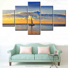 Wholesale Beautiful oil painting boats and beach on canvas 2017 hot sale new style unframed printed canvas for Study Room Deco